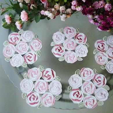 Rose Bush Embroidery Doily Set