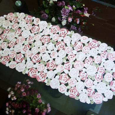 Rose Bush Embroidery Rose Oval  Runner