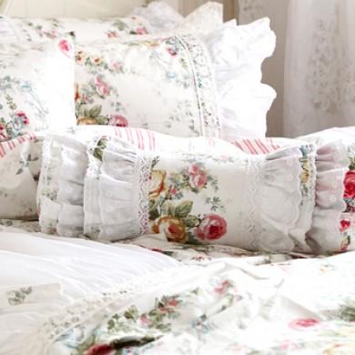 Royal Rose Garden Lace Ruffle Bolster Pillow Cover
