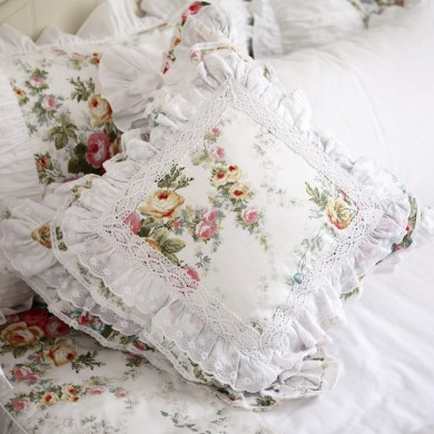 Royal Rose Garden Lace Ruffle Cushion Cover