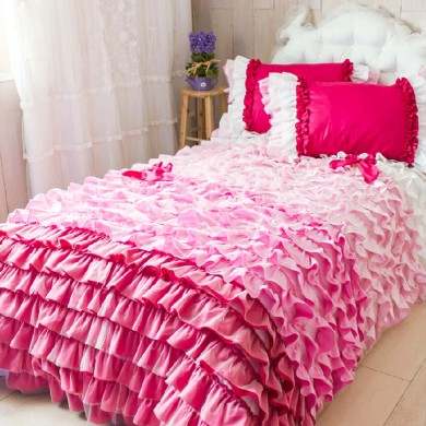 Pink Ombre Ruffle Duvet Cover Set