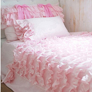 Pink Waterfall Ruffled Bedding Set