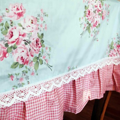 Blue Rose Ruffle Tablecloth
