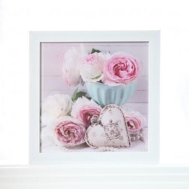 Shabby Vintage Roses White Bird Print