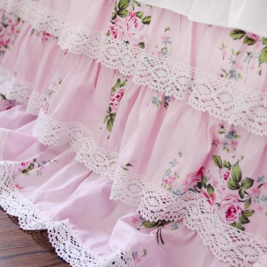 Pink Rose Cotton Lace Ruffle Bed Skirt- Queen size