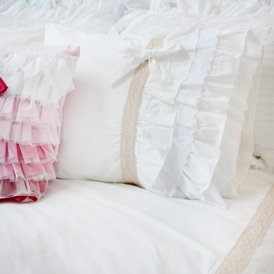 Ivory White Ruffle Duvet Cover Set