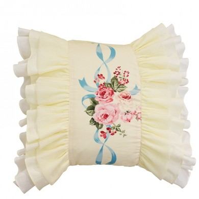Rose Bouquet Yellow Accent Cushion Cover