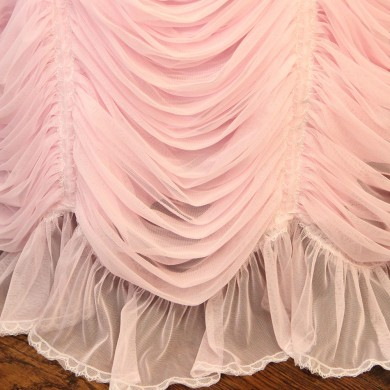 Luxury Pink Ruffled Fitted Tablecloth