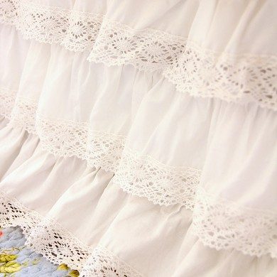 White Crochet Cotton Lace Ruffle Bed Skirt