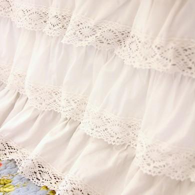 White Crochet Cotton Lace Ruffle Bed Skirt