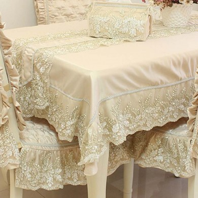 Beige Embroidery Lace Luxury Tablecloth