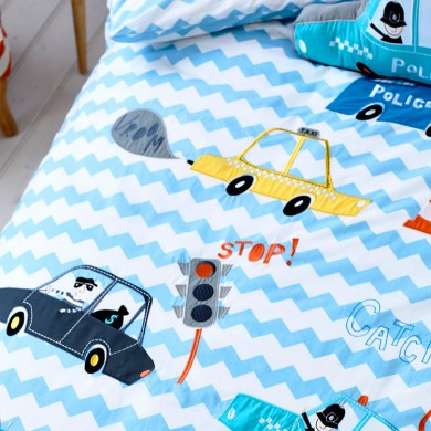 Fire Trucks and Police Cars Duvet Cover Set