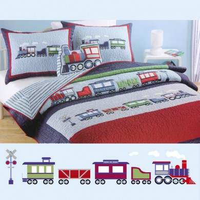 Blue Train Applique Patchwork Bedspread 2pcs Quilt
