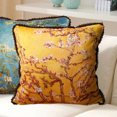 Almond Blossom Cushion Cover, Yellow