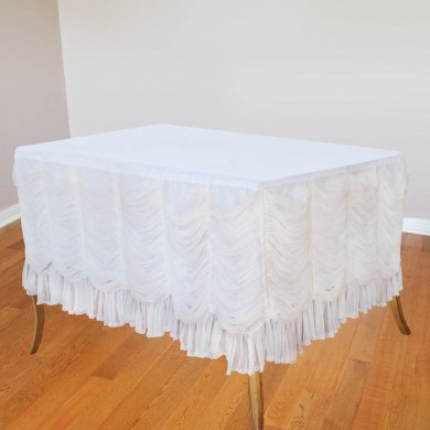 Luxury White Ruffled Fitted Tablecloth