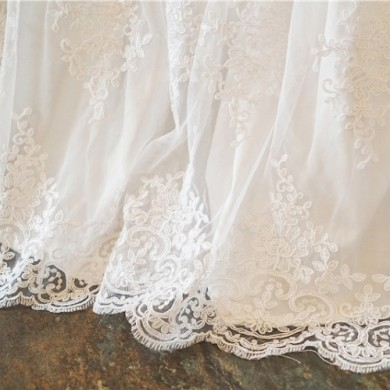 White Luxury French Lace Bedskirt
