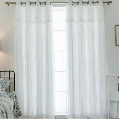 Luxury White French Lace Curtain Panel