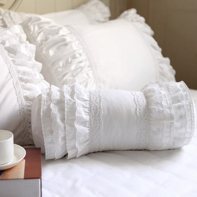 White Lace Ruffle Bolster Pillow Cover