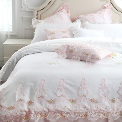 Pink Embroidery Lace Luxury Duvet Cover Set