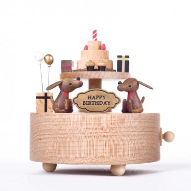 Dogs with Birthday Cake Music Box