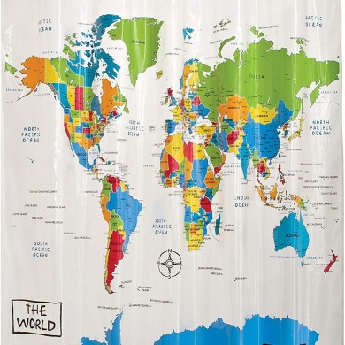 World Map Shower Curtain