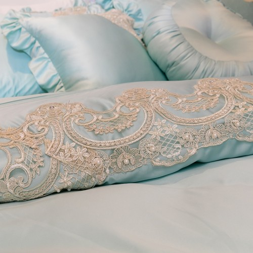 Gold Lace Egyptian Cotton Duvet Cover Set