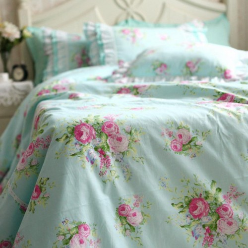 Green Rose Bedding Set