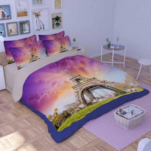 Purple Paris Eiffel Tower Duvet Cover Set Bedding