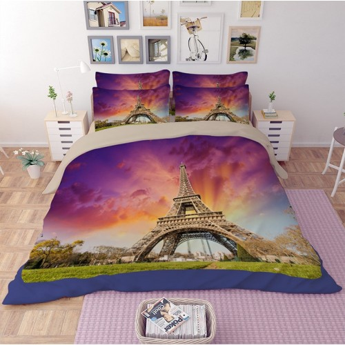 Purple Paris Eiffel Tower Duvet Cover Set Bedding