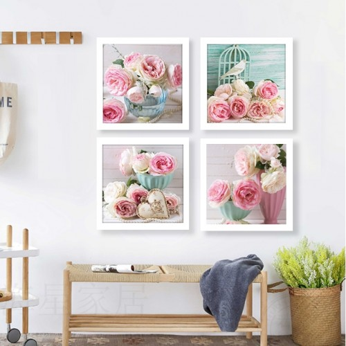 Shabby Chic Kitchen Wall Decor: Pink Love Heart Print