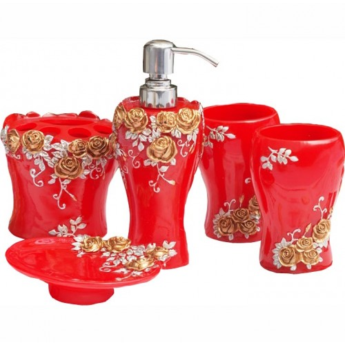 Red bathroom set for Bathroom accessories red