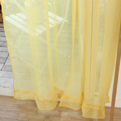 Custom Made Ruffle Sheer Curtain Set Yellow Custom Made