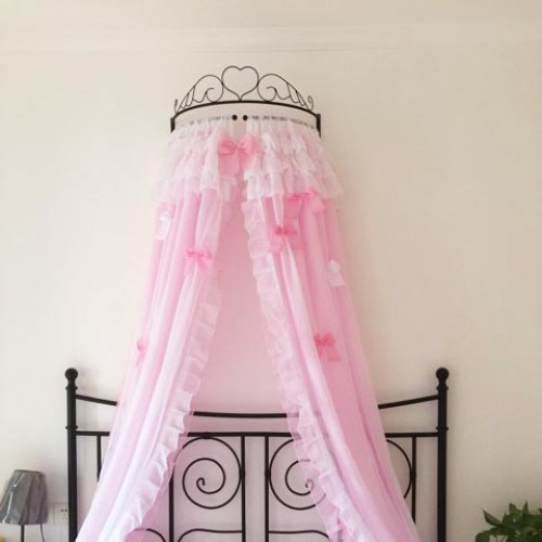 Double Pink White Sheer Bed Canopy