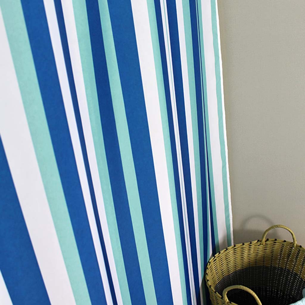 Blue stripe shower curtain for Blue and white striped bathroom accessories