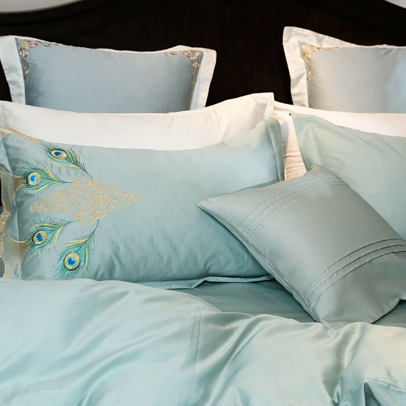 Peacock Embroidery Egyptian Cotton Duvet Cover Set