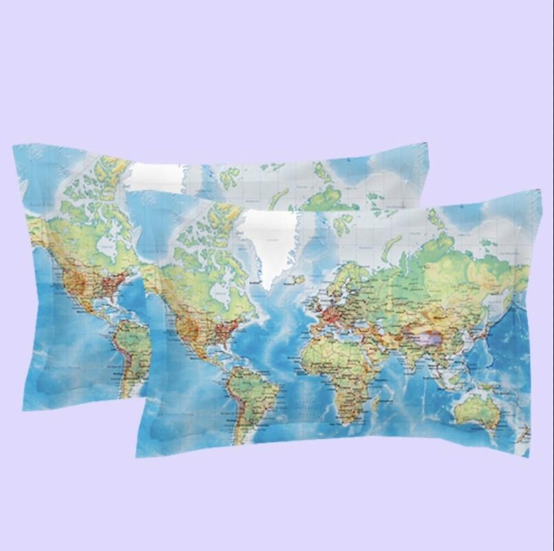 World Map Scenery Duvet Cover Set Bedding