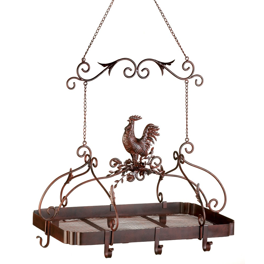Country rooster kitchen pot rack for Pot racks for kitchen