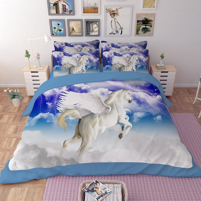 Flying White Horse Duvet Cover Set Bedding