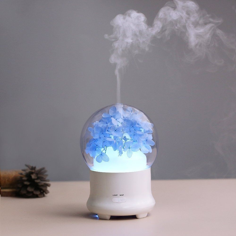 Blue Hydrangea Flowers Aroma Diffuser Cool Mist Humidifier