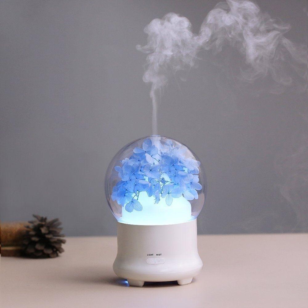 Aroma Light Diffuser ~ Blue hydrangea flowers aroma diffuser cool mist humidifier