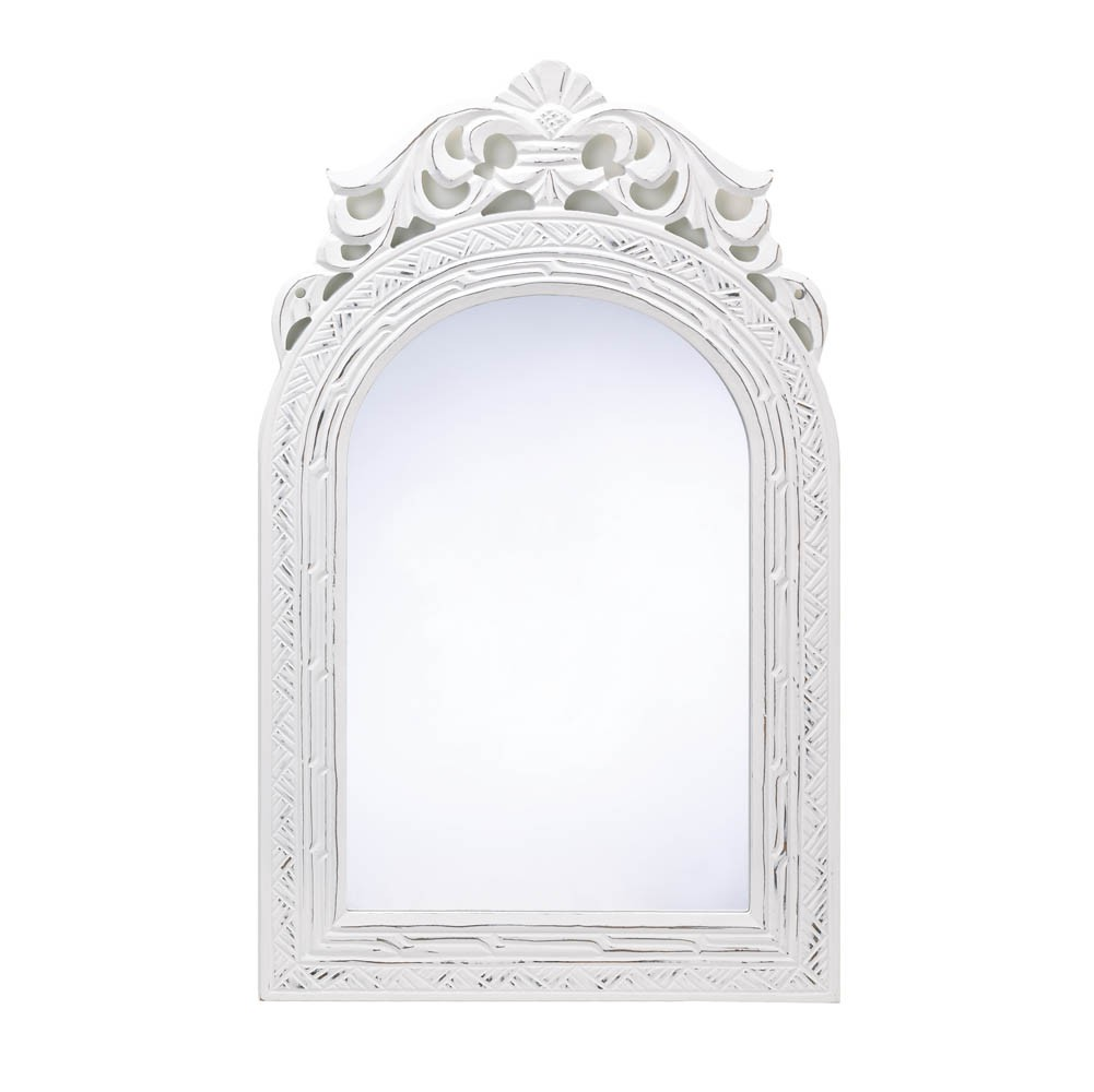 Framed wall mirror distressed white for White framed mirror