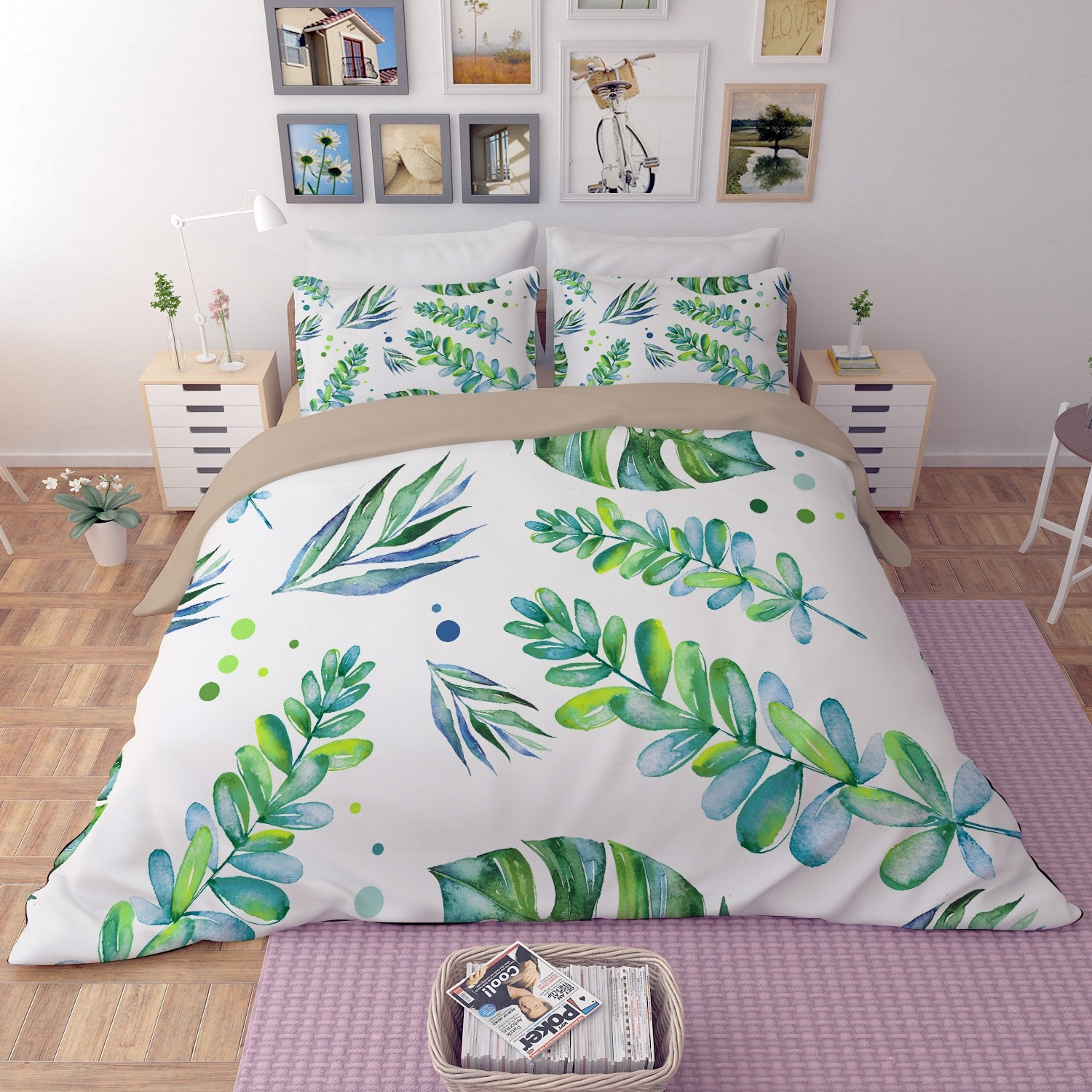 5 Green Wedding Decorations That Will Leave You Speechless: Leaves Duvet Cover Set Bedding