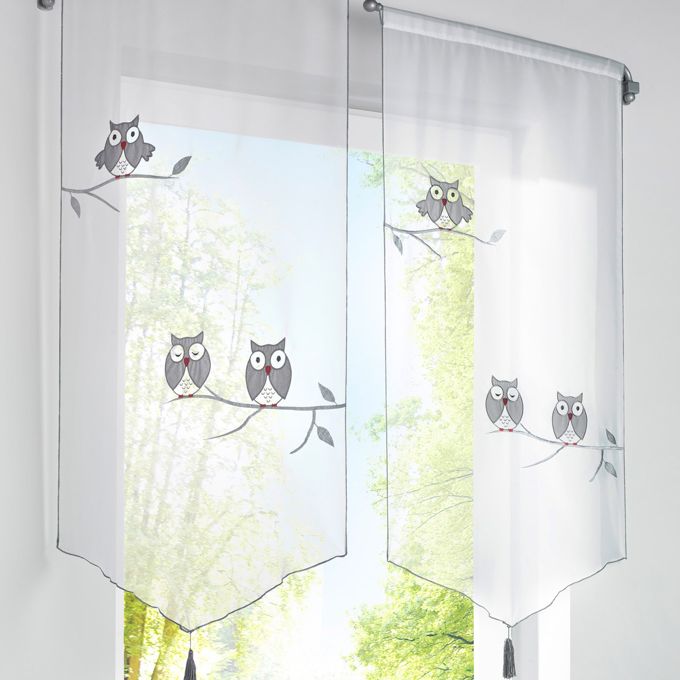 Sheer balloon curtains - Grey Owl Voile Sheer Shade