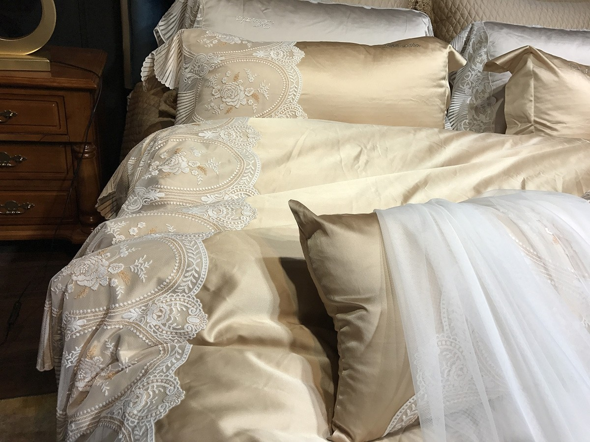 Paris Lace Silk Egyptian Cotton Duvet Cover Set