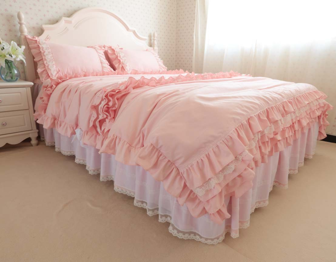 Fabulous Pink Ruffled Queen Duvet Cover Download Free Architecture Designs Intelgarnamadebymaigaardcom