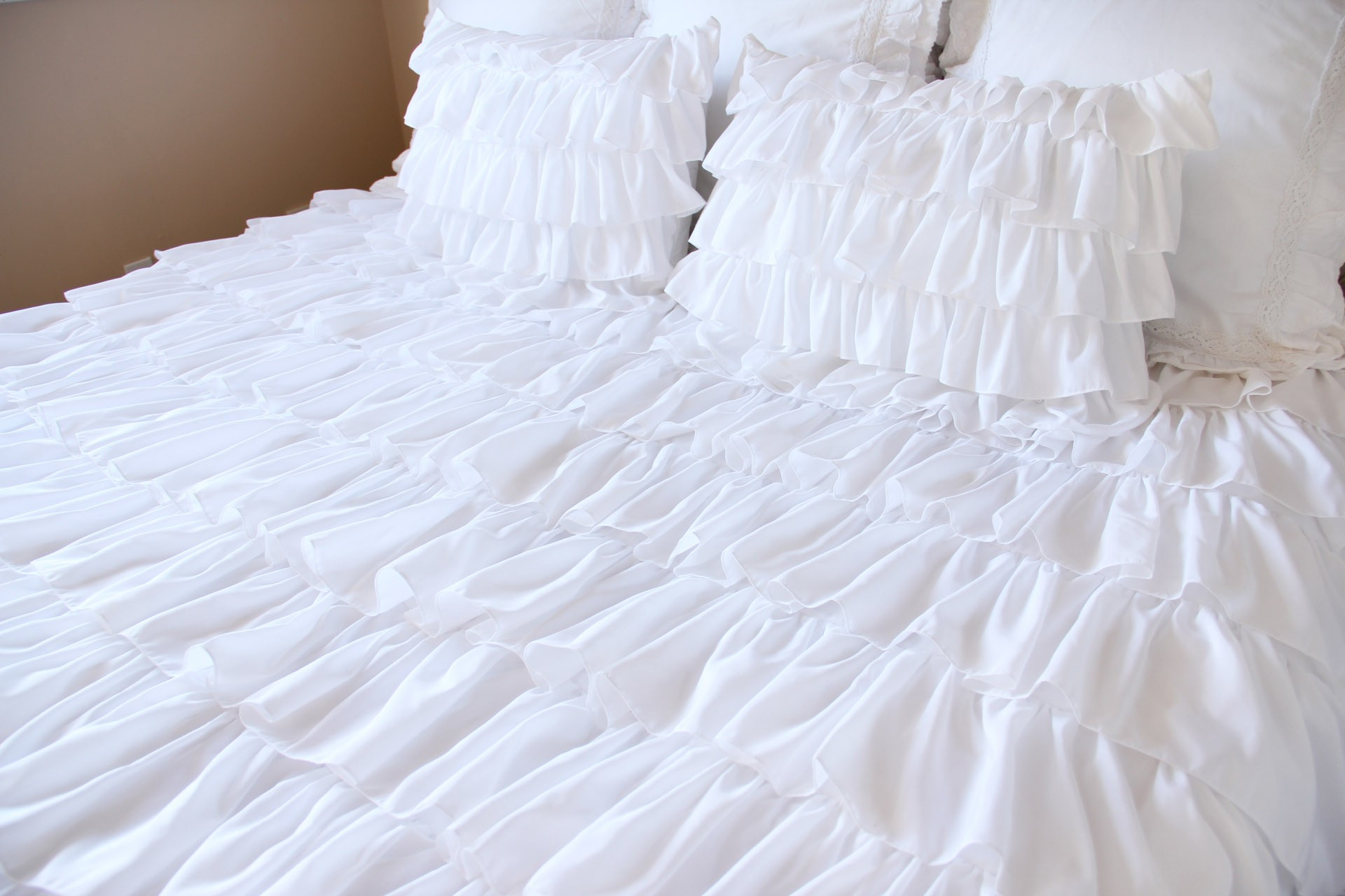 White Waterfall Ruffle Bedding Set. 18% Off Home Design Ideas