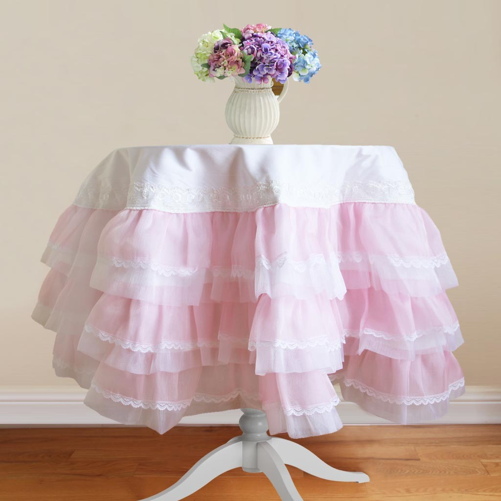 Pink Organza Ruffle Lace Tablecloth Tablecloth Tabletop