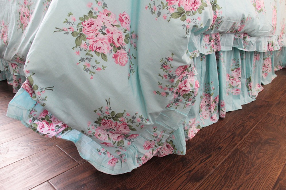 Shabby Blue Pink Rose Ruffle Duvet Cover Florals Bedding