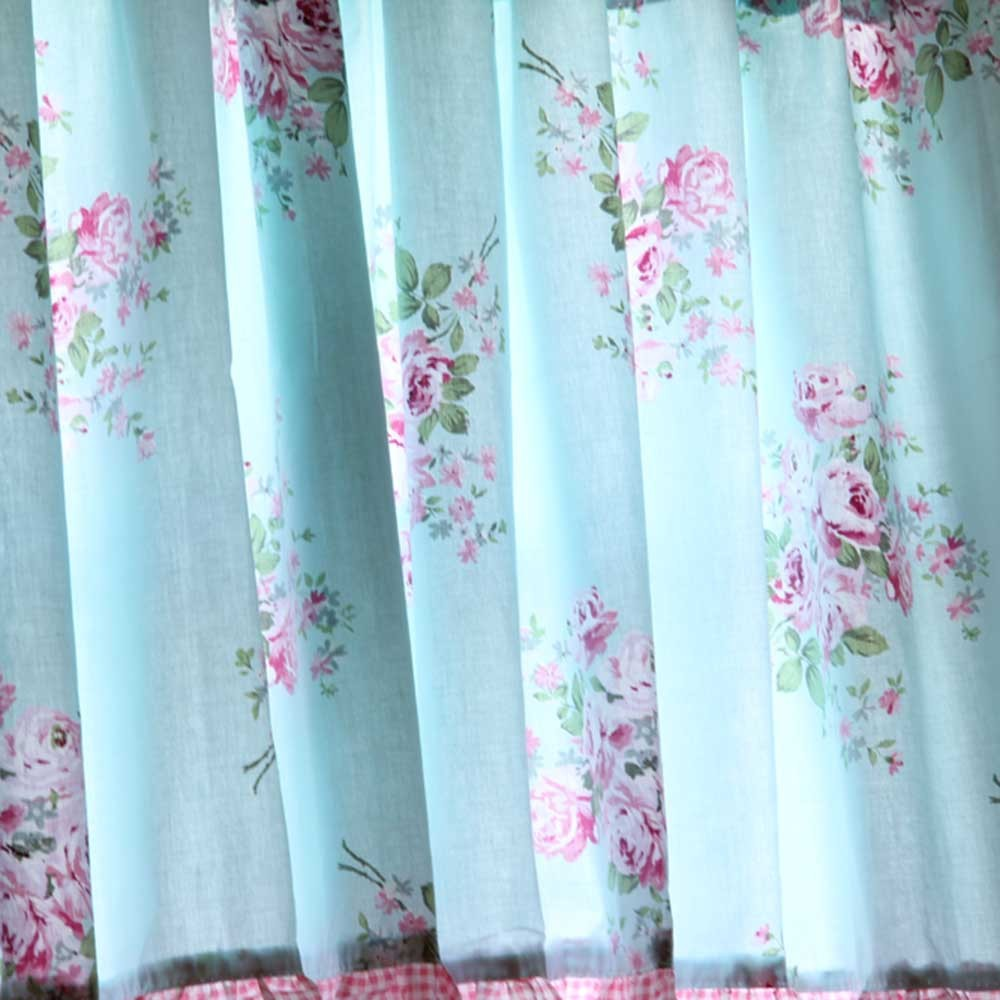 Shabby Blue Rose Ruffled Kitchen Curtain Valance