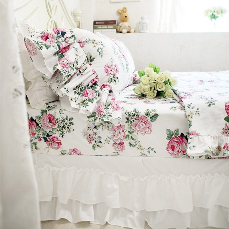 Shabby Chic Woodrose Pillowcases : long ruffle pillowcase